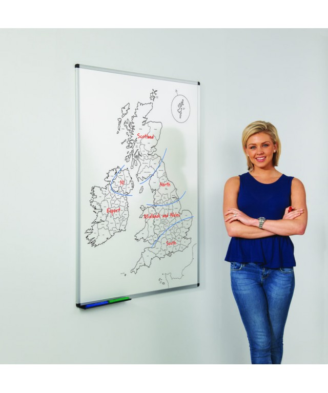 Outline UK County Map Drywipe Magnetic Board