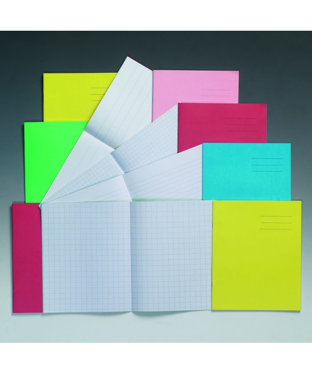 Exercise Books 8 X 6.5 48 Page 7mm Squares Red