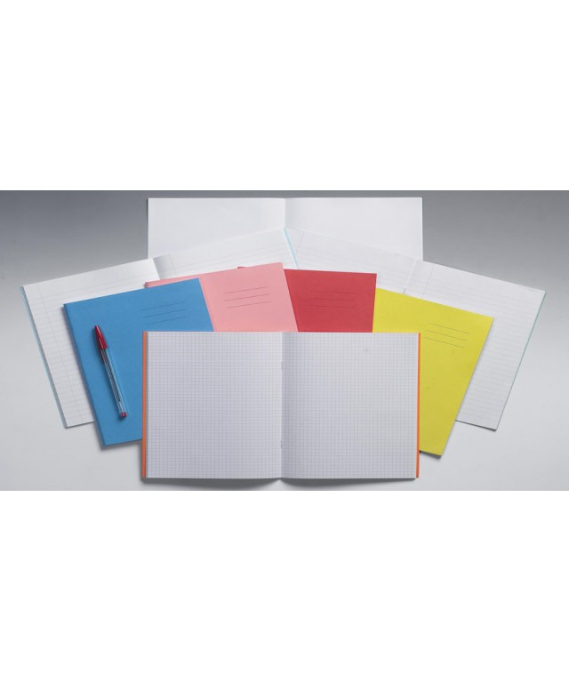 Exercise Books 9 X 7 48 Page 7mm Squares Red