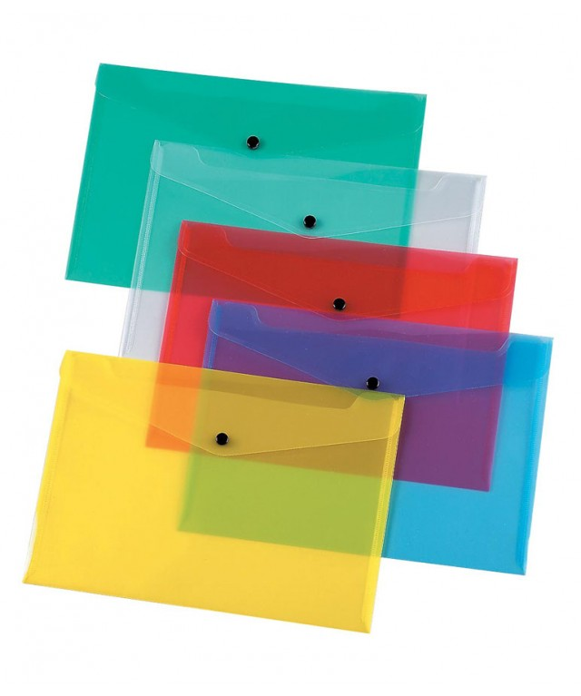 A5 Polypropylene Document Wallets Assorted