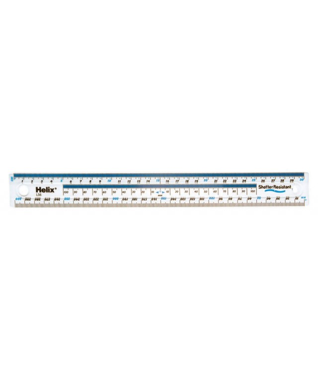 Helix 300mm/30cm Clear Shatter Resistant Ruler